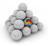 picture of aspergers  - A pyramid of balls with puzzle pieces on them and one with colored pieces autism - JPG