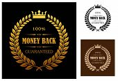 stock photo of laurel  - Laurel wreath enclosing 100 percent money back guaranteed labels with crown overhead in different colors suitable for various business types - JPG