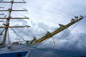 stock photo of tall ship  - Russian sailboat tall ship STS MIR in harbor - JPG