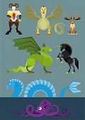 picture of chinese unicorn  - Simple illustration of seven mythological creatures in the flat style - JPG
