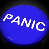 stock photo of panic  - Panic Switch Showing Anxiety Panicking Distress Online - JPG