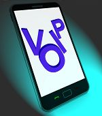 stock photo of voip  - Voip On Mobile Showing Voice Over Internet Protocol Or Ip Telephony - JPG