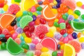 picture of easter candy  - An assortment of colorful candy on full frame background with jellybeans gumdrops and other jelly candies - JPG
