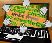 image of debt free  - Debt Free Laptop Screen Showing Good Credit Or No Debt - JPG