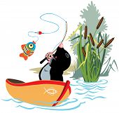 picture of bulrushes  - cartoon mole fishing in a boat - JPG