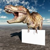 image of tyrannosaurus  - Computer generated 3D illustration with the Dinosaur Tyrannosaurus Rex and an Advertising Sign - JPG