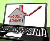 stock photo of borrower  - House Loans Home Laptop Meaning Borrowing And Mortgage - JPG