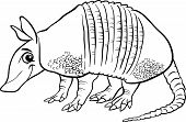 stock photo of armadillo  - Black and White Cartoon Illustration of Cute Armadillo Animal for Coloring Book - JPG