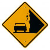 picture of road sign  - Falling Rock Zone yellow metal road sign - JPG