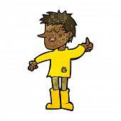 image of attitude boy  - cartoon poor boy with positive attitude - JPG