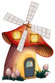 image of house woods  - Illustration of a mushroom house with a windmill on a white background - JPG