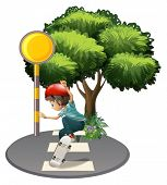 pic of post-teen  - Illustration of a boy skateboarding near the tree on a white background - JPG