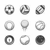 stock photo of pool ball  - Collection of sport icons - JPG