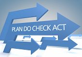 picture of plan-do-check-act  - Plan Do Check Act 3d render concept with blue arrows on a bluegrey background - JPG