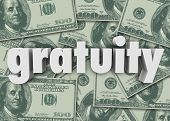 picture of appreciation  - Gratuity word cash bills or money to express appreciation for good attention to service - JPG