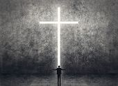 picture of jesus sign  - Silhouette of businessman stand in front of the cross light on the wall - JPG