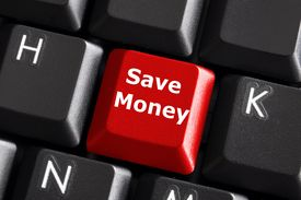 picture of save money  - save money for investment concept with a red button on computer keyboard - JPG