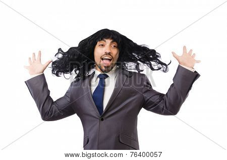 Funny businessman with female wig isolated on white