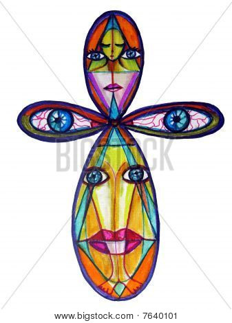 Abstract Colorful Ankh