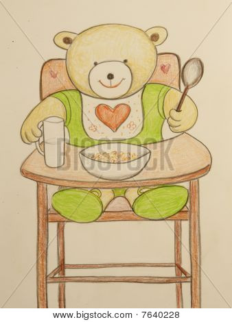 Baby bear in high chair