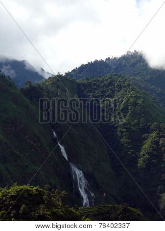 Large Waterfall In Green Himalayan Hills
