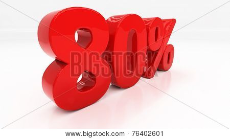 Eighty percent off. Discount 80.  Percentage. 3D illustration
