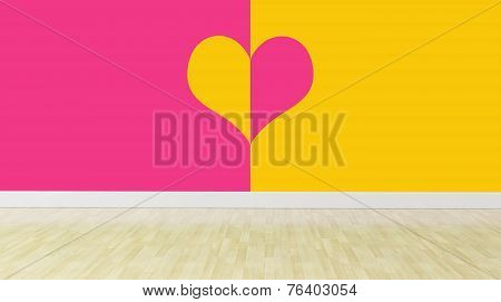 Heart Designing Walls In Empty Room