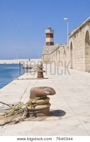 Lighthouse on Monopoli Old Port. Apulia.