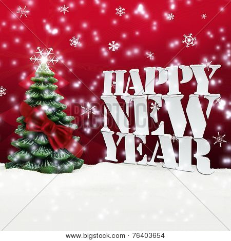Happy New Year Christmas Winter Snow