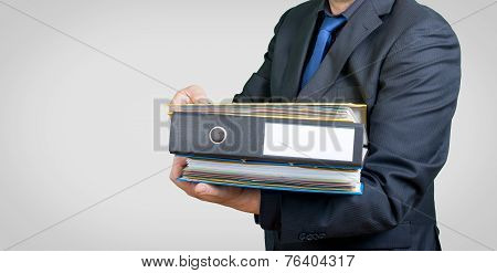 businessman and folders