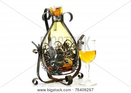 Ornate Metal Decanter Holder With Cork On Chain