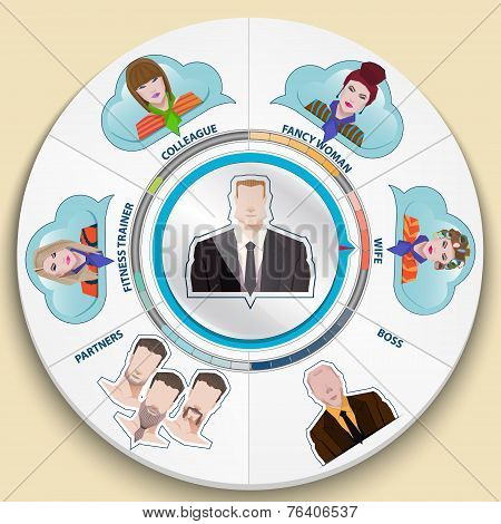 Set of flat color icons. Businessman. Infographic elements