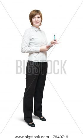 Businesswoman  Writing On Her Notepad