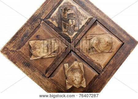 Four Compartment Wood Trinket Box With Carved Turtles On Lids