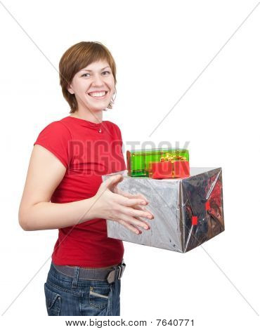 Girl Holding Coloured  Boxes
