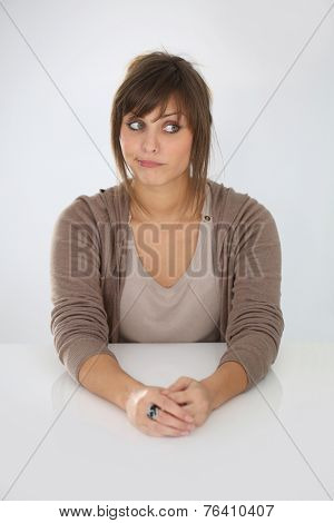 Portrait of bored girl, isolated