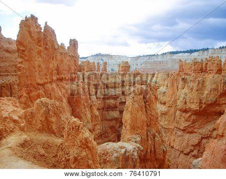 Orange Sandstone Rocks Of Bryce Canyon