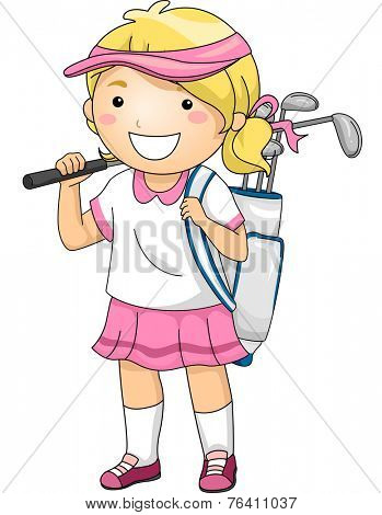 Illustration Featuring a Girl Wearing Golfing Gear
