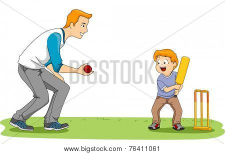 Illustration Featuring a Father and Son Playing Cricket