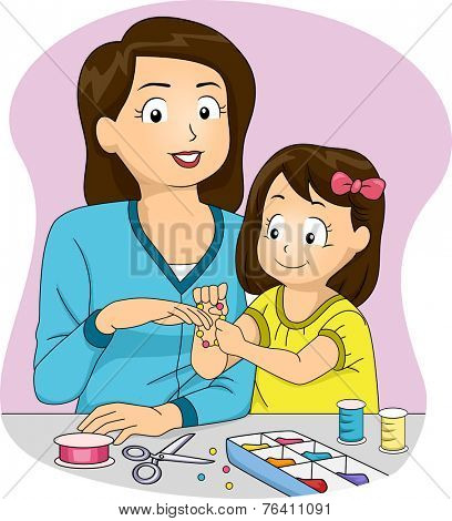 Illustration Featuring a Mother and Daughter Making Homemade Accessories