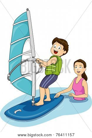 Illustration Featuring a Mother Giving Windsurfing Lessons to Her Son