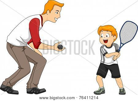 Illustration Featuring a Father and Son Playing Squash