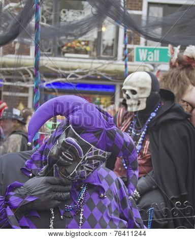 Laughing Mardi Gras Fool And Death Skull