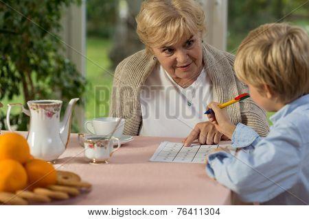Granny Helping His Grandson