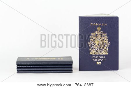 New ePassport With Stack Of Old passport