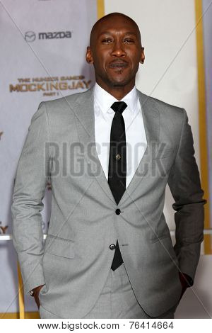 m LOS ANGELES - NOV 17:  Mahershala Ali at the The Hunger Games: Mockingjay Part 1 Premiere at the Nokia Theater on November 17, 2014 in Los Angeles, CA