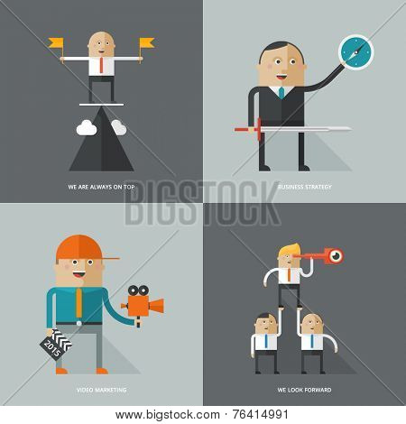 Set of flat design concept images for infographics, business, web, media marketing, strategy,