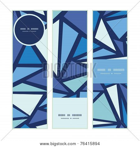 Vector abstract ice chrystals vertical banners set pattern background