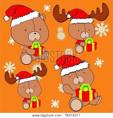 sweet xmas teddy bear baby cartoon set