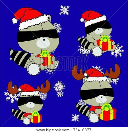 sweet xmas raccoon baby cartoon set